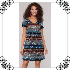 🆕NWT Trendy Striped Sequin Statement Party Dress
